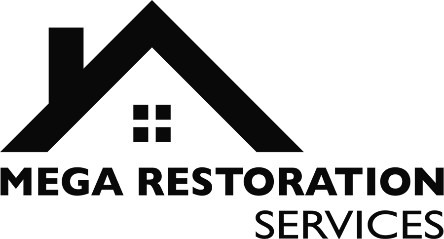Mega Restoration Services Logo in Black Green and White
